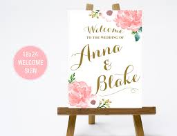18 24 vintage floral wedding welcome sign with pink flowers gold