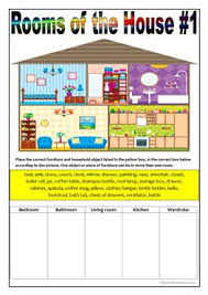 14 free esl household objects worksheets