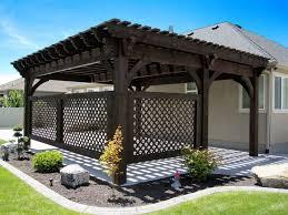 covered patio 5 post 20 u0027 x 20 u0027 diy pergola kit w lattice panels