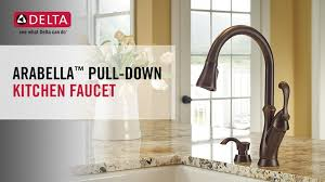 delta pull kitchen faucet delta arabella single handle pull sprayer kitchen faucet with