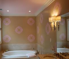 Pink And Gold Bathroom by Damask Wall Stencil For Painting With Luxury Pearl White Damask
