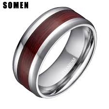 wooden metal rings images 8mm men 39 s real wood inlay titanium ring male wedding band fashion jpg