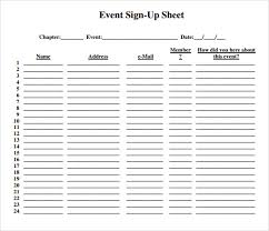 Event Sign Up Sheet Template Free Sign Up Sheet Template
