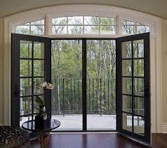 interior exterior sliding french door in black and round glass
