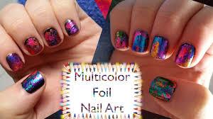 multicolor foil nail art youtube