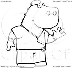 cartoon clipart of a black and white t rex surgeon doctor in