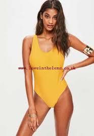 Yellow Low Side Swimsuit  Swimwear  Beachwear Christmas 2017