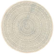 Burlap Rugs Blue And Ivory Print Jute Round Rug 3 Ft At Home At Home