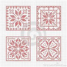 set of tiles scandinavian cross stitch pattern traditional