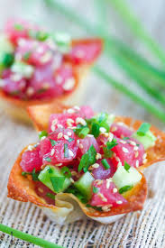 cuisine appetizer tuna tartare in crispy wonton cups what should i for