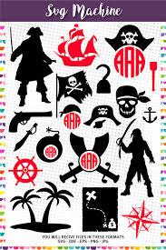 pirate frames monogram cuttable design pirates silhouettes u2013 svg