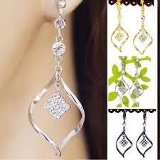 non pierced earrings c043 new twist clear dangle clip on back non pierced