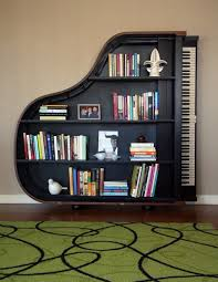 Music Decorations For Home Storage Interesting Slooping Roof Built In Bookshelves Black Wood