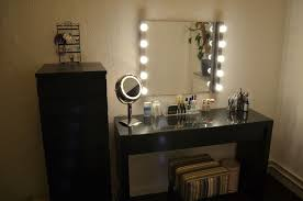 Small Vanity Mirror With Lights Furniture Small Brown Lacquer Mahogany Wood Corner Vanity