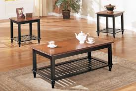 3 piece coffee table set country style two tone wood finish