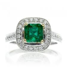 emerald engagements rings images Emerald vintage design radiant cut cathedral halo diamond JPG