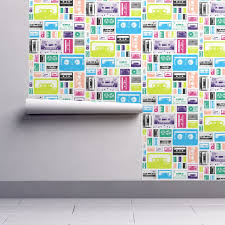 mix tapes retro 70s 80s wallpaper by pennycandy roostery home