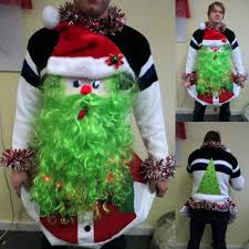 funny huge santa 3 d lime green beard tacky ugly christmas sweater