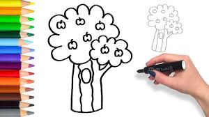 learn how to draw apple tree kids coloring page youtube
