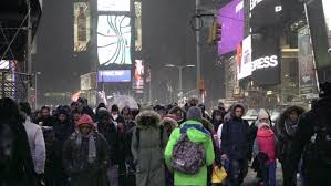 new york feb 15 2016 snowing in times square with ticker ads