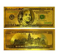 24k gold plated 100 dollar bill replica paper currency