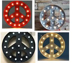 Metal Wall Letters Home Decor Vintage Metal Led Light Up A Z Alphabet Peace Sign Carnival Wall