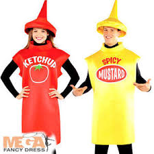 Ketchup Halloween Costume Mustard Ketchup Bottle Couple Fancy Dress Food Ladies Mens