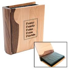 wood photo album engraved personalized wood photo amd picture albums