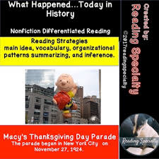 thanksgiving day macy s parade differentiated reading passage