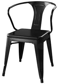 amerihome loft glossy black metal dining chairs 4 piece dchairb