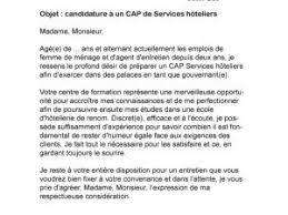 lettre de motivation femme de chambre hotel lettre de motivation cap services hôteliers par lettreutile