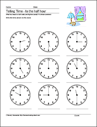 telling time half hour math worksheets telling time to the half hour