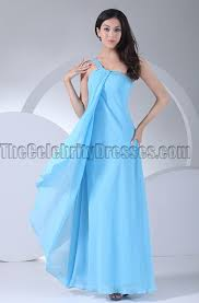 blue one shoulder chiffon prom gown bridesmaid dresses