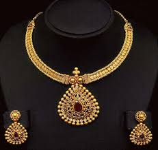 set of gold gold necklace set manufacturer in surat gujarat india by