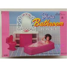 Dolls House Bathroom Furniture Miniature Furniture Pink Bathroom Set For Doll House