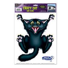 window clings halloween amazon com crazy cat car cling party accessory 1 count 1 sh