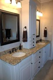 Double Vanity With Tower Furniture Extraordinary White Bathroom Vanity Black Granite Top