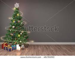 tree decorations living room 3d stock illustration