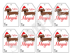 printable personalized christmas dachshund dog gift tags