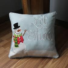 vezo home embroidered christmas snow man linen sofa cushions cover