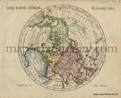 North Pole Map Der Erde Nordl Halbkugel Antique Maps And Charts U2013 Original
