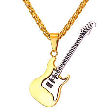 stainless steel guitar necklace images Guitar necklace for men women music stainless steel pendant jpg