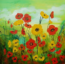 spring poppies in yellow artwork overview artinvesta