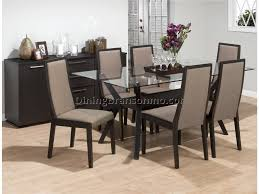 Dining Room Tables Set Dining Room Set With White Leather Chairs And Glass Table Top