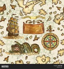 Treasure Island Map Seamless Nautical Background Pirate Image U0026 Photo Bigstock