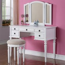Bathroom Vanity With Stool White Stained Wooden Makeup Table With Single Drawer And Three