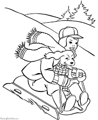 christmas coloring pages dog riding sled