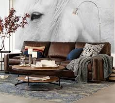 Pottery Barn 3 Piece Sectional Pearce Leather Sleeper Sofa Pottery Barn Seabury Upholstered