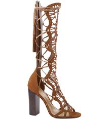 schutz johnni saddle brown knee high strappy chunky heel gladiator