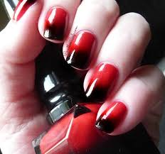 black and red colour fade nails manicure for womens pinterest